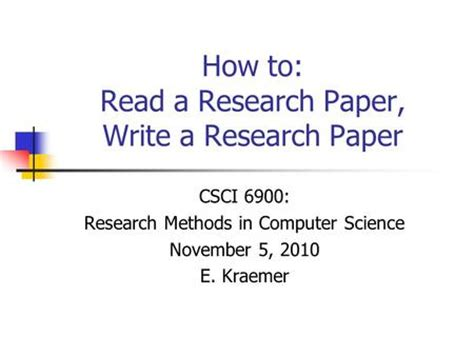 How to right a research paper